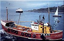 NM6797 : Three boats Mallaig Harbour 1971 by Gordon Spicer