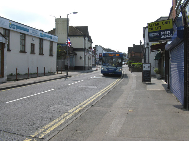 Caterham:  High Street, looking south, with bus