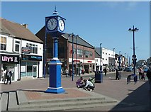 NZ6025 : Clock in the High Street, Redcar by Humphrey Bolton