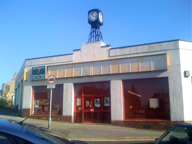 Vacant showroom with Art Deco clock, Macclesfield