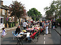 TQ4077 : Couthurst Road street party - tables by Stephen Craven