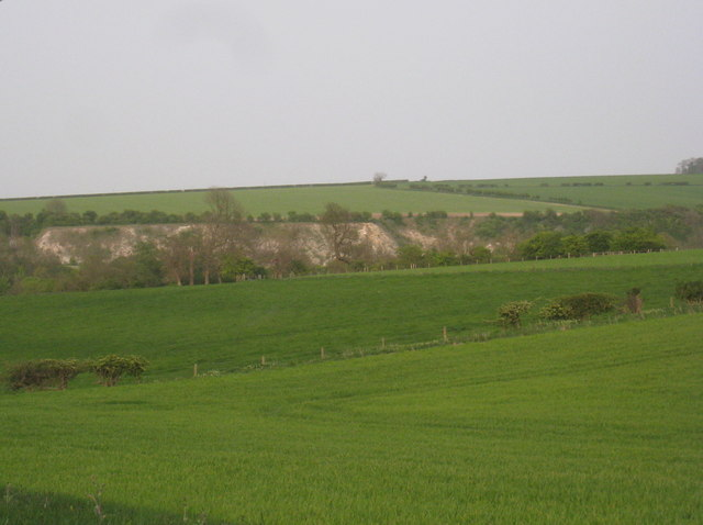 View towards the former chalk quarries at Wharram le Street