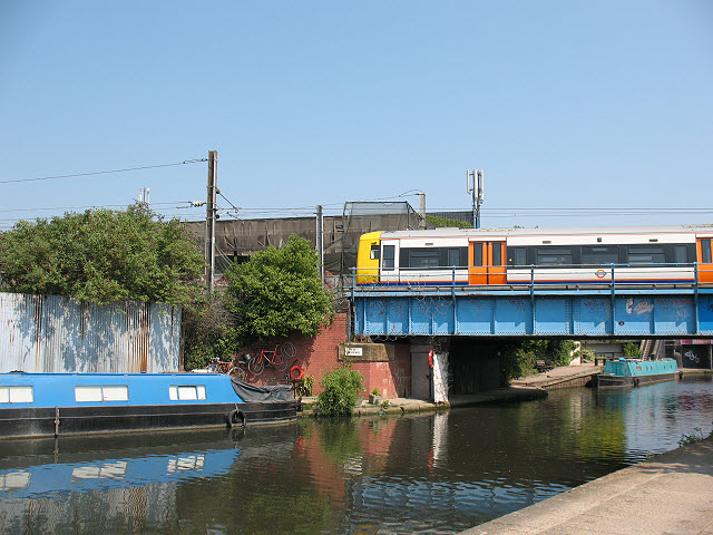 Train crossing the Grand Union Canal