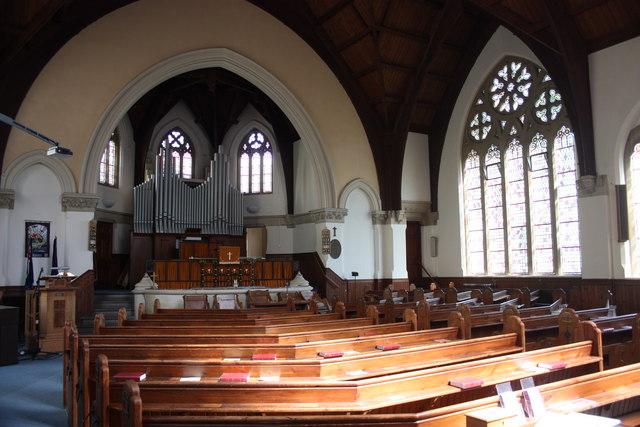 Baptist church interior, Abbey Road, Malvern