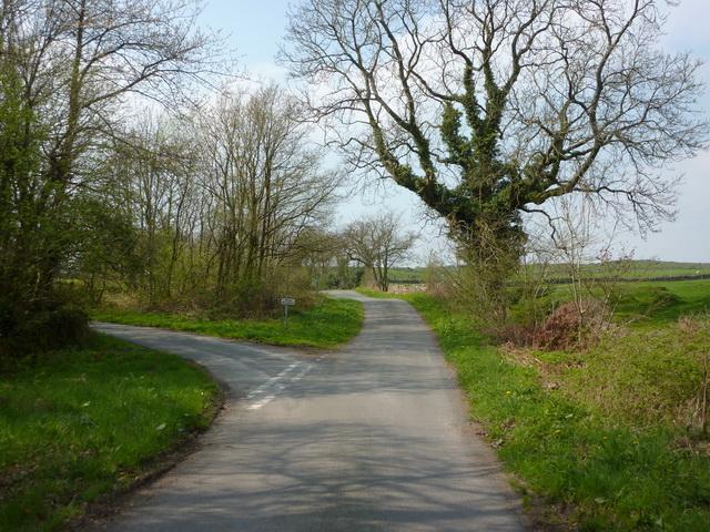 Road junction northwest of Wood Broughton