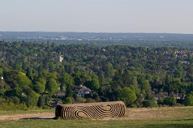 """Surrey Hills"" bench, Reigate Hill"