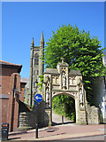 SD5817 : The arch over the walkway to St Mary's R.C. church by John S Turner
