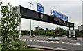 J3478 : Motorway gantry sign, Belfast by Albert Bridge