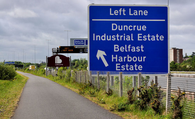 Direction sign, M2 near Belfast
