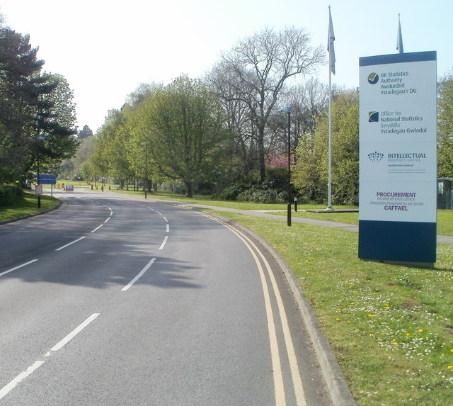 Entrance road to government offices, Newport