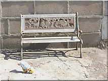 NJ9505 : A carved wood bench seat in Footdee by Stanley Howe