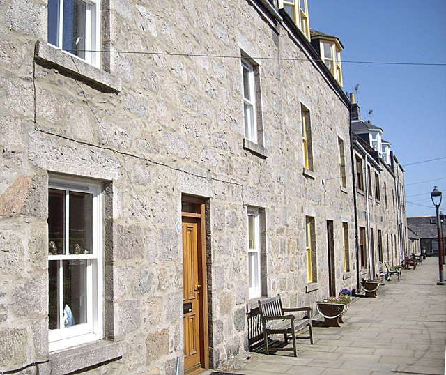 Terraced house fronts in Footdee