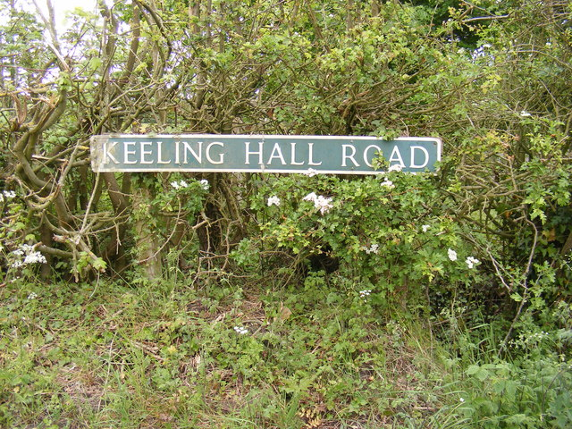 Keeling Hall Road sign