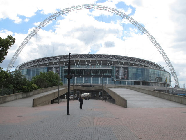New Wembley Stadium and Arch from Olympic Way