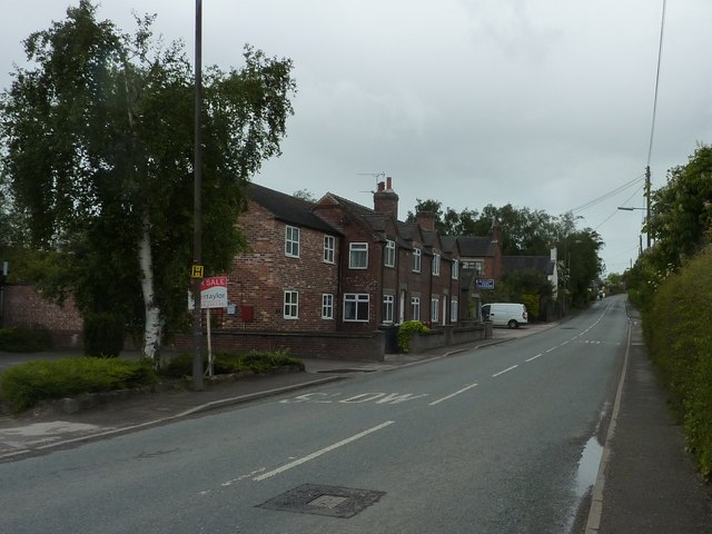 Hulland Ward, main road, houses and garage