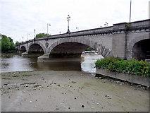 TQ1977 : Kew Bridge at Low Tide by Christine Matthews