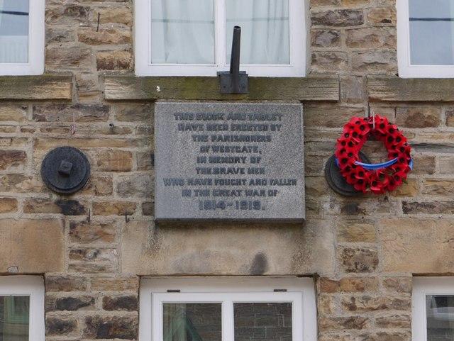 War Memorial plaque, Westgate Village Hall