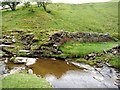 NY9039 : Remains of dam on Middlehope Burn above Low Slitt Mine by Andrew Curtis