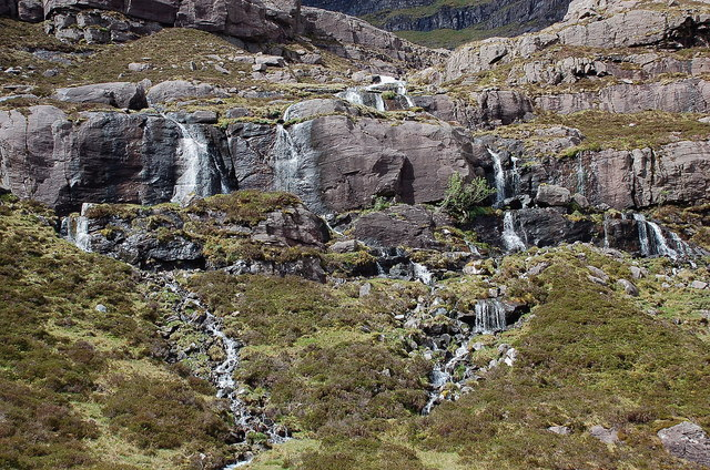 Streams cascading from Coire na Poite