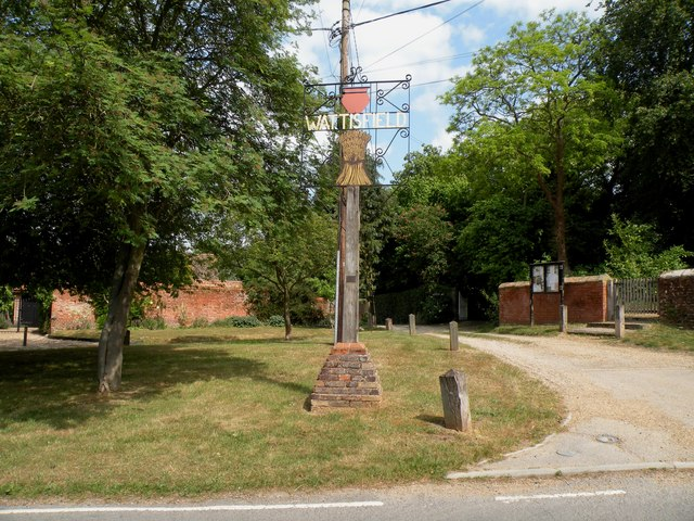 The village sign at Wattisfield