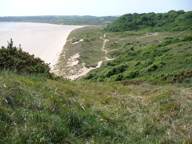 Nicholaston Burrows, dunes backing Oxwich Bay