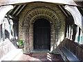 SO9842 : Entrance door and porch, Bricklehampton church by John Brightley
