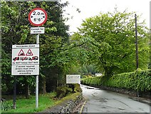 NY3307 : Sat nav warning sign, Grasmere by Rose and Trev Clough