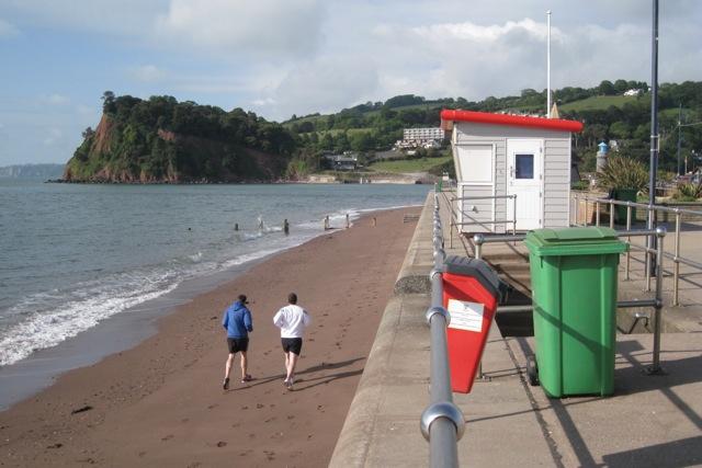 Morning jog on the beach