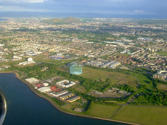 Granton gas works and Arthur's Seat from the air