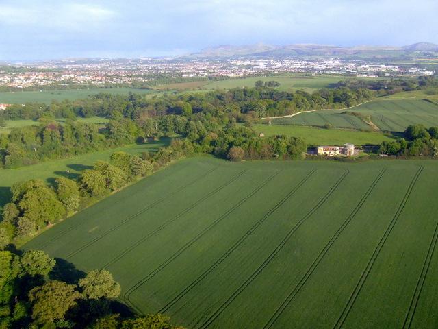 Craigiehall Temple from the air