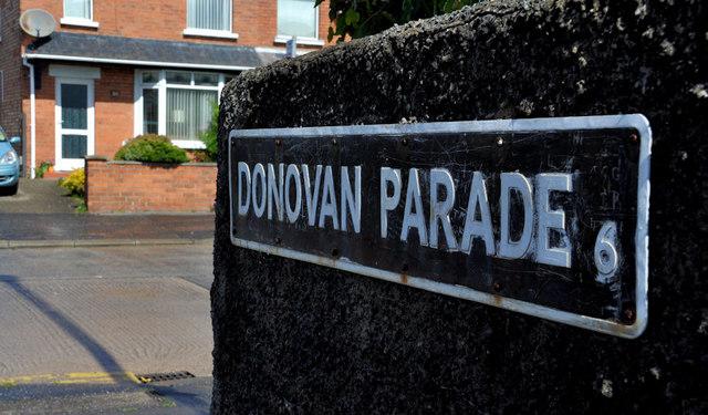 Donovan Parade sign, Belfast