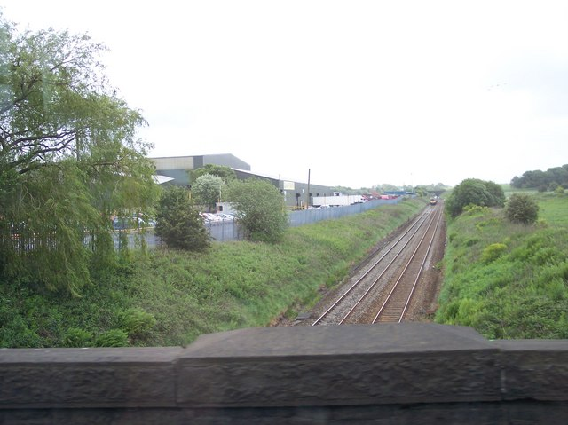 The railway towards Manchester from Station Road bridge Blackrod