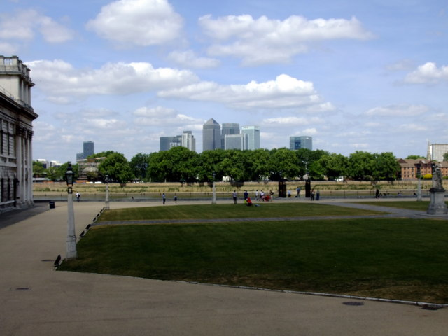 Old Royal Naval College, Greenwich, looking toward Canary Wharf