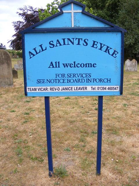 Notice Board of All Saints Church,Eyke
