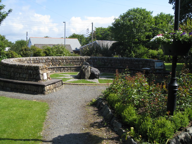 Mullion Garden - with compass rose and water feature