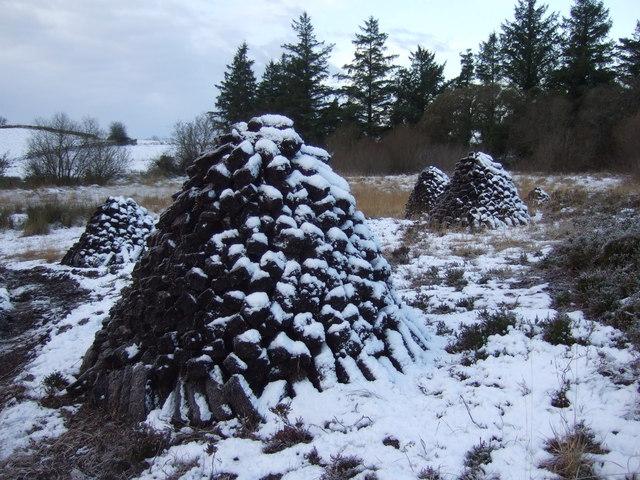 Cloonmung bog: turf stacks