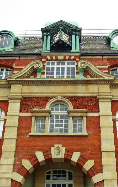 Clock turret and facade, Cambridge House, Wood Green