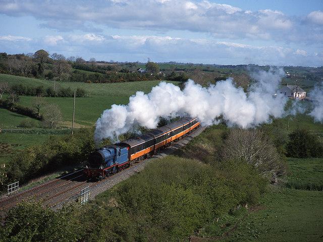 Steam train crossing Newry Canal