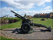 NT6779 : East Lothian Townscape : C20th Army Gun at Bayswell Road, Dunbar by Richard West