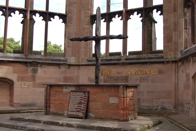 Altar of Reconciliation in the old Coventry Cathedral