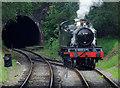 SJ9853 : Locomotive changing tracks at Cheddleton Tunnel #3, Staffordshire by Roger  Kidd