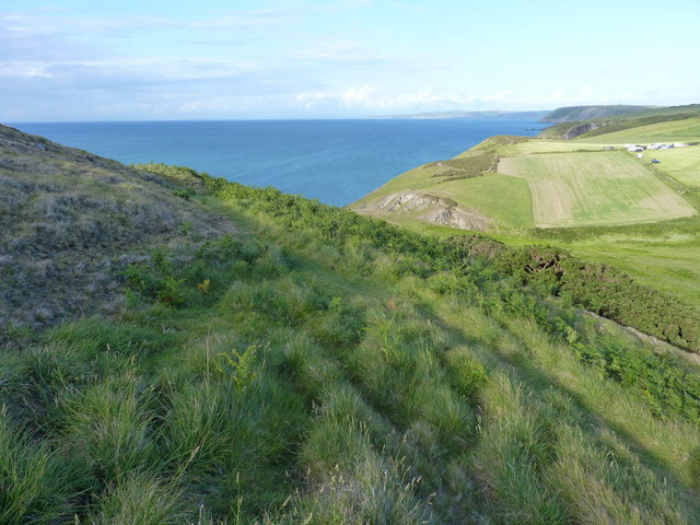 Hillfort earthworks on the side of Foel y Mwnt