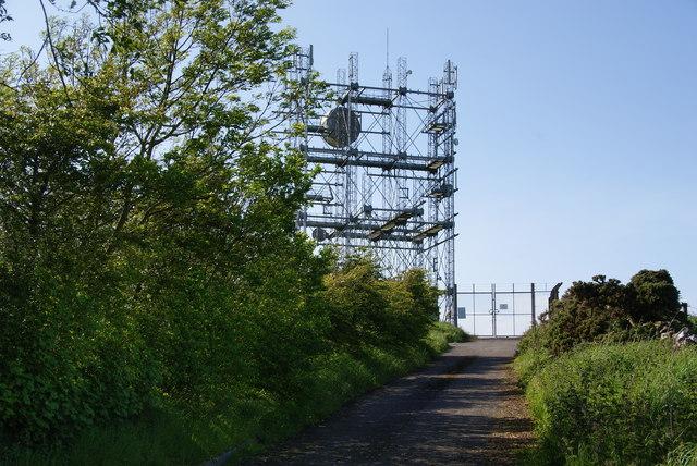 Lane up to the communications mast on Wharrels Hill