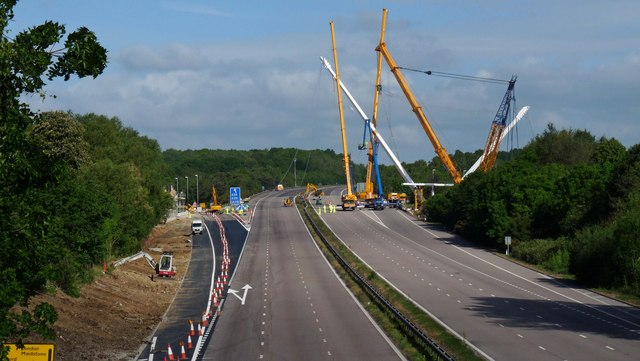 Ashford - footbridge over M20 under construction