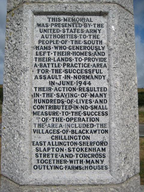 Inscription on memorial on Slapton Sands