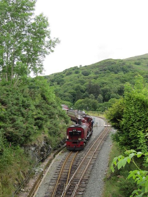 Welsh Highland Railway train pulling out of Beddgelert Station