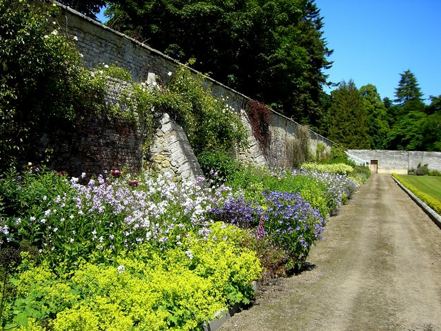 Herbaceous border in the walled garden at Novar House