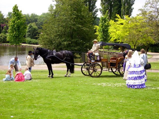 Horse-drawn carriage, Longton Park, nr Dresden