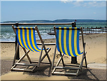 SZ1191 : Deckchairs at Boscombe beach by william