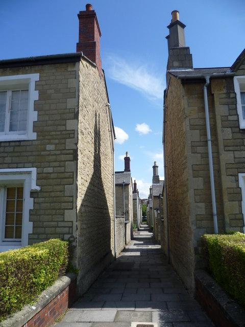 Looking along an alley in Swindon Railway Village